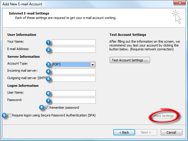 Configure outlook with an hotmail gmail office 365 yahoo aol or icloud account - Office 365 server settings outlook ...