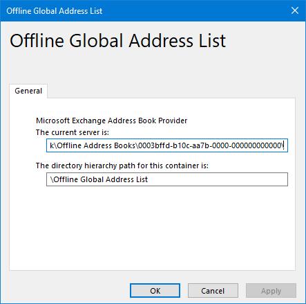 Address Book - Offline Global Address List Properties