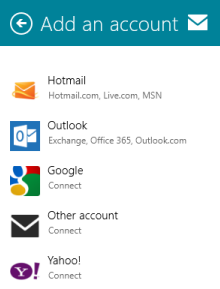 Windows 8 Mail App - Add an account