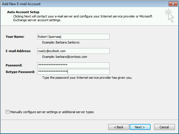 Use Auto Account Setup in Outlook 2007 to configure your Outlook.com account.