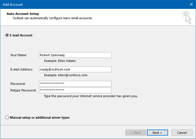 Use Auto Account Setup in Outlook 2013 and Outlook 2016 to configure your Outlook.com account.