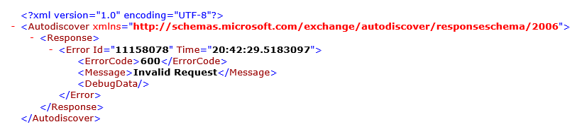 Autodiscover XML - ErrorCode 600 - Invalid Request (click on image to enlarge)
