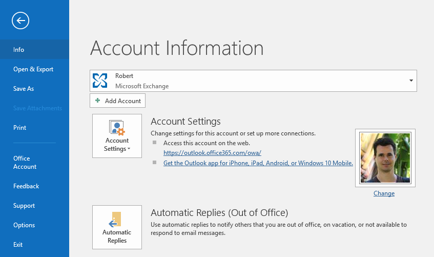 Out of Office Assistant (OOF) or Automatic Replies in Outlook 2016