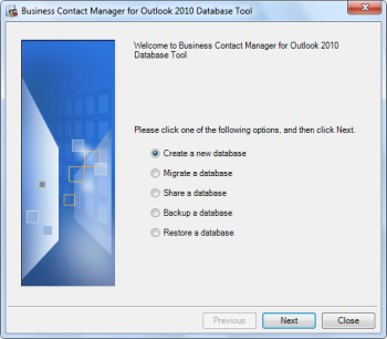 Main dialog of the Business Contact Manager for Outlook 2010 Database Tool (click on image to enlarge).