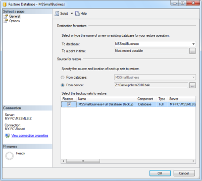 SQL Management Studio - Restore Database - MSSmallBusiness - Business Contact Manager (BCM)