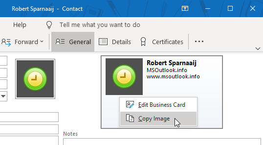 Copying the Business Card image created in the Outlook Contact window.