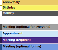 Conditional Formatting in the Calendar.
