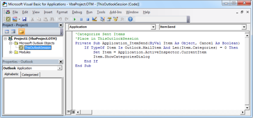 The above code copied in ThisOutlookSession of the VB Editor (click on image to enlarge)