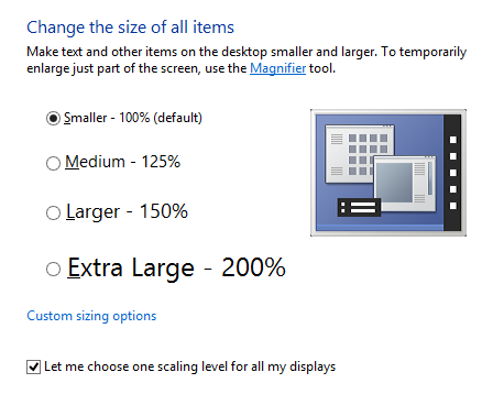 Windows 8 - Change the size of all items