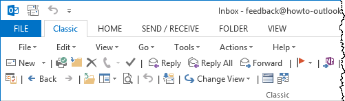 Classic tab for Outlook 2013 (click on image for a full view of the Classic tab)