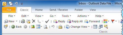 Classic tab for Outlook 2010 (click on image for a full view of the Classic tab)