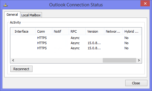 Outlook Connection Status dialog - Conn column