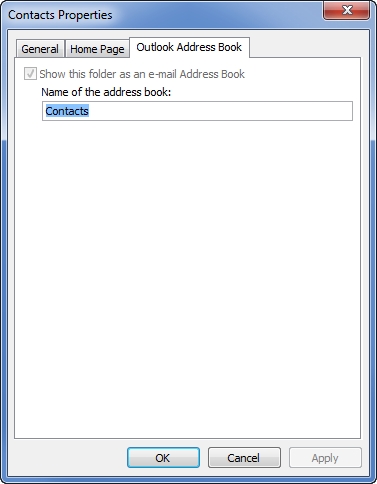 Contacts folder selected as Outlook Address Book