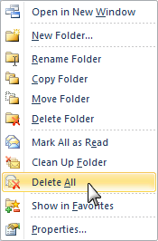 Delete All option in Outlook 2010