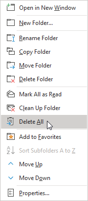 Delete All option in Outlook's Context Menu.