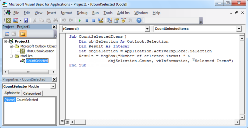 The above code copied in a CountSelected module of the VB Editor (click on image to enlarge).