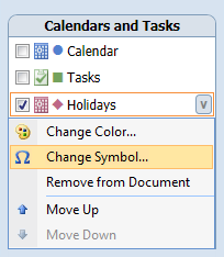 Calendar Printing Assistant - Changing the calendar symbol.