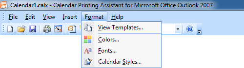 Calendar Printing Assistant - Most of the visual changes that you can make to your calendar can be set in the Format menu.