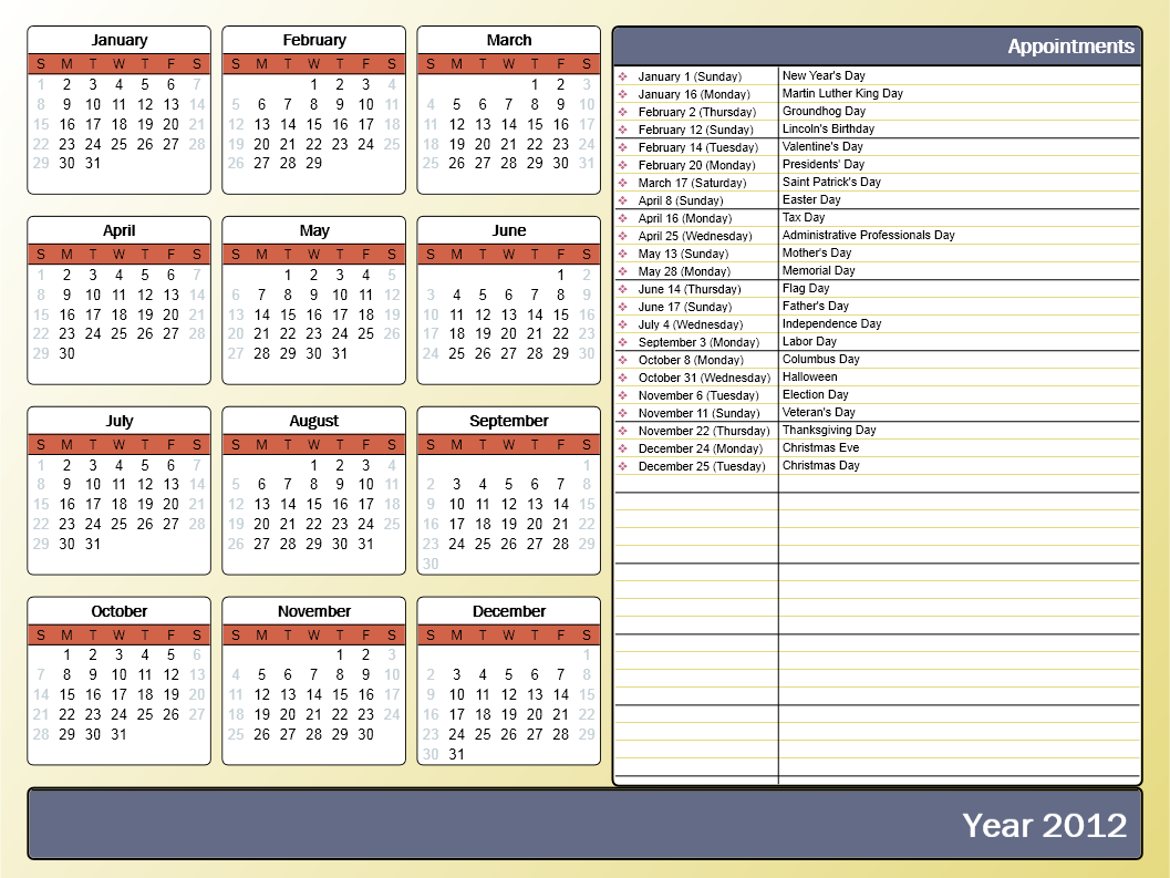 Printing a yearly calendar with holidays and birthdays for Yearly vacation calendar template