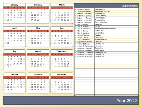 "Modified template 3, with color style ""Civic"", font set ""Franklin Gothic Book with Arial"", calendar style ""Rounded"" and a custom calendar icon. (click on image to enlarge)"