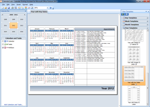 Printing a yearly calendar with holidays and birthdays for Calendar printing assistant templates