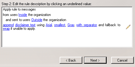 Disclaimer options in Exchange 2007