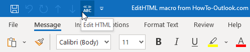 You can add a button for the EditHTML macro to the QAT or Ribbon of the New Email Compose window.