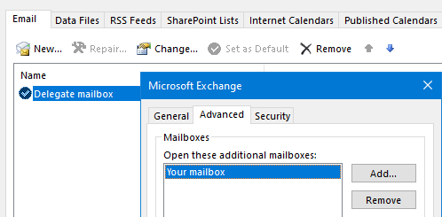 Set the delegate/shared mailbox as the main mailbox and add your own.
