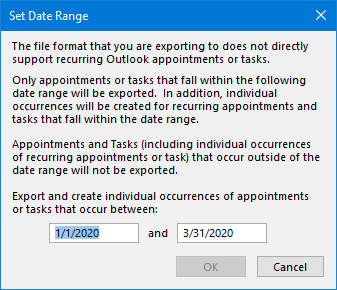 When exporting the Calendar or Tasks folder, you can set a date range for recurring items.