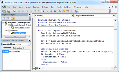 The code copied in the Visual Basic Editor. (Click on image to enlarge)