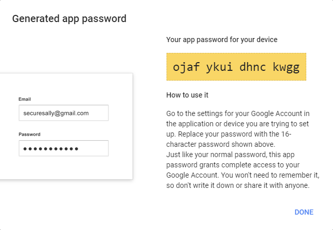 Generated app password for Google 2-Step Verification.
