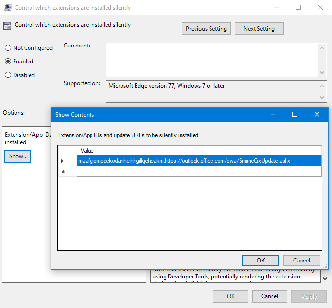 Setting the ExtensionInstallForcelist value in the Group Policy Editor to install the S/MIME extension.