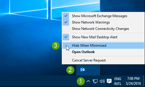 "Enable ""Hide When Minimized"" for Outlook in 3 clicks."