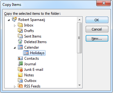 Copy Items - Copy selected items to a new Holidays calendar (CTRL+SHIFT+Y)