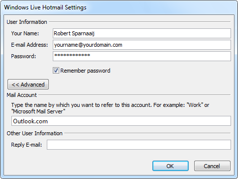 Outlook Hotmail Connector - Configuration with your own domain