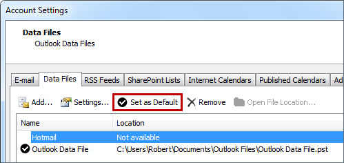 Set your Hotmail mailbox as the default data file and optionally remove your pst-file.