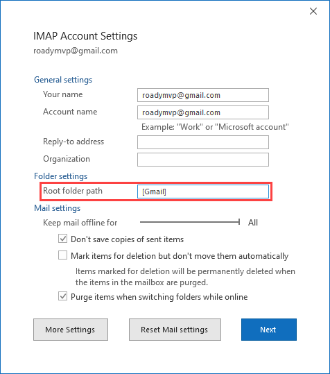 Setting the Root folder path in your IMAP account settings.