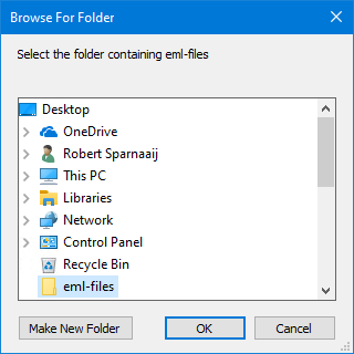 Select the folder containing eml-files.