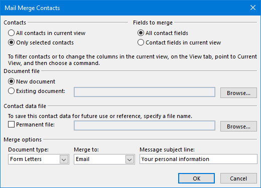 generating mail merge