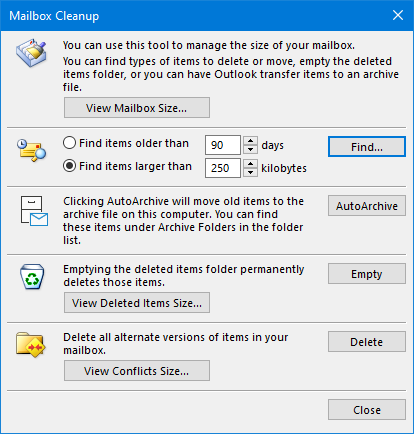 Mailbox Cleanup tool