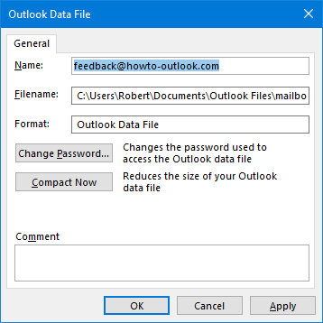 Outlook display name not updating