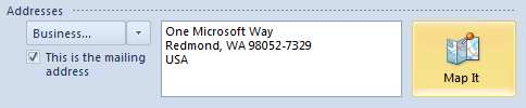 Map It in Outlook 2010