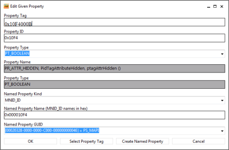 Add the PR_ATTR_HIDDEN property to a folder to hide it (click on image to enlarge).