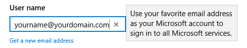 You are free to specify any address which you already own when signing up for an Microsoft Account. This address can then also be used for an Outlook.com mailbox.