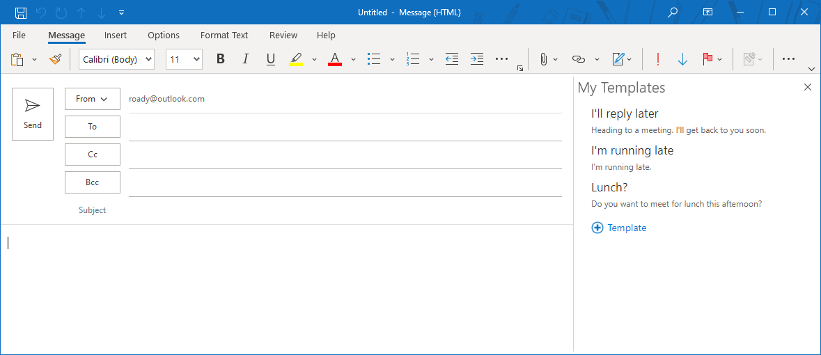 Working with message templates howto outlook the my templates office web add in is only available when you are using an maxwellsz