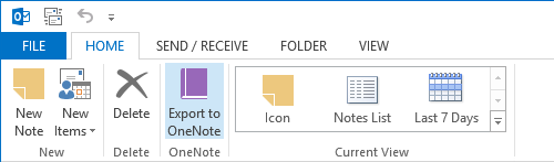 "Export to OneNote button added to the ""Home (Notes)"" Ribbon tab."