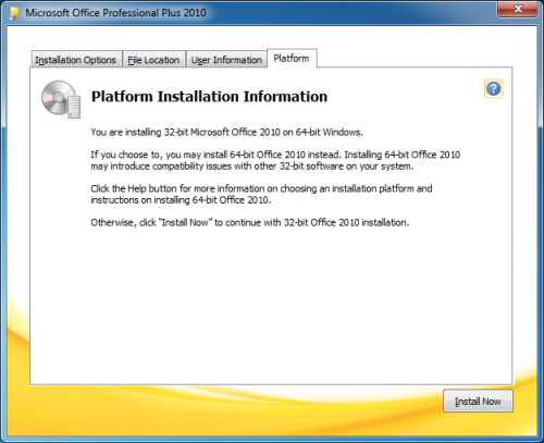 Installation Information about the availability of the 64-bit version of Office 2010 (click on image to enlarge)