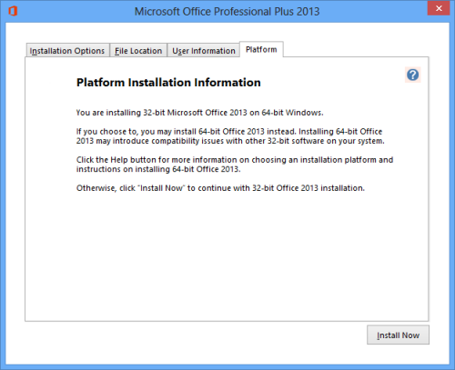 Installation Information about the availability of the 64-bit version of Office 2013 (click on image to enlarge)