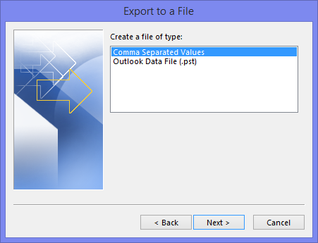 Export to a File - File types in Outlook 2013