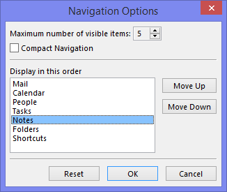 Notes Navigation in Outlook 2013